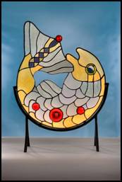 Salmon of Wisdom stained glass free standing panel by Jo Perez