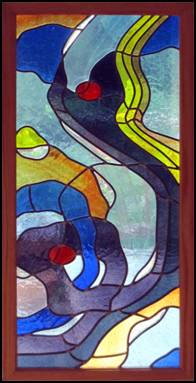 Deep Reflections stained glass panel by Jo Perez.  Leaded Blenko glass with rondels and starfire crystal bevels.