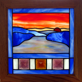 Mountain Landscape stained glass panel by Jo Perez, Dark Hollow Stained Glass.