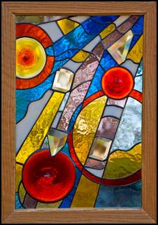 Fallen Angels Stained Glass Panel with Illusion Bevels
