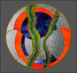 Interrupted Forms Stained Glass Panel