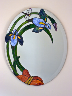 Iris stained glass mirror