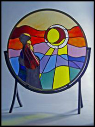 Sharing the World Free Standing Wedding Stained Glass by Jo Perez Panel